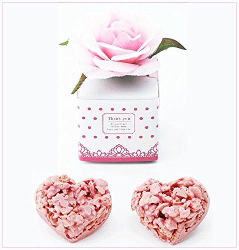 ピンクローズ・ラブクランチのプチギフト 1個(ハート型のストロベリークランチチョコ2個入り)【結婚式 プチギフト 焼き菓子】
