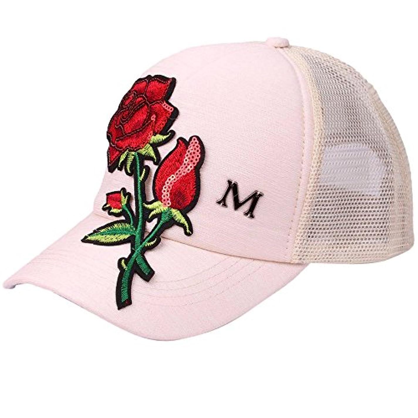 メタン属するオーナメントRacazing Cap ローズ 刺繍 ヒップホップ 野球帽 通気性のある 帽子 夏 登山 メッシュ 可調整可能 棒球帽 UV 帽子 軽量 屋外 Unisex Hat (ベージュ)