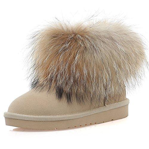 女の子 レザー スノーブーツ 防水 防寒 防滑 ブーツ 保温 キツネの毛皮 クラスト雪靴 ミニ ムー...
