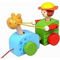 素敵な木製プッシュ&玩具はプル一緒にワゴン車ボーイプル