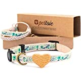 Pettsie Cat Collar Breakaway Safety with Heart and Friendship Bracelet for You, Soft 100% Cotton for Extra Comfort, Strong and Durable, Easy Adjustable Size 8-11 Inch, Green