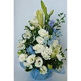 【クール便対応】お彼岸の花 ユリが入ったお供え花 ホワイト&ブルー・紫