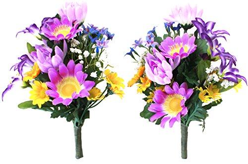 山久 仏様のお供えに カラフルな 菊 の小花束一対 パープル...