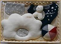 ベビーギフトセット 通販 贈り物 ベビー枕 スタイ ガラガラ ベビー服 汗取りタオル ドーナツ枕=日本製のビセラの詰め合わせ=出産祝いやギフトにもどうぞ (紺)