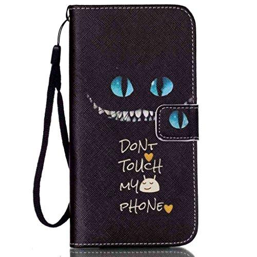 (AFROMARKET) iPhone7Plus ケース 手帳型 カバー カード収納 スタンド機能 マグネット開閉式 ウォレット型 Apple 対応 WhiteUngry5VARI (Iphone7PlusBKDonttouchBLeye)