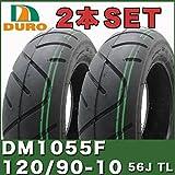 [2本セット] YAMAHA VOX50 VOXデラックス タイヤセット DURO製タイヤ DM1055F 120/90-10 56J TL 50CC ダンロップOEM フロント リア SET 前後 ヤマハ