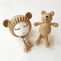 youareen新しいニットビーニーキャップ+ Bearおもちゃ新生児赤ちゃん幼児乳児Bear写真プロップ写真赤ちゃんニットキャップ One Size