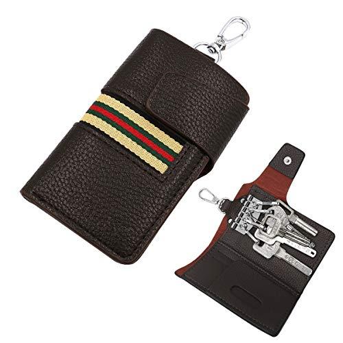 COREET キーケース メンズ カードキーケース 本革キーケース スマートキーケース 5連リング カラビナ付き キーホルダー 小銭入れ 二つ折り式 男女兼用