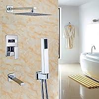 Rozin浴槽バス3ウェイミキサー12インチRainfallシャワーセット注ぎ口タップ+ハンドヘルドスプレークローム RZ072832