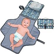 BlueSnail 可搬式 着換え パッド クッション パッド付おむつ クラッチ 軽量 旅行用 ステーション キット 赤ちゃんおむつ用 ネイビー+グレー