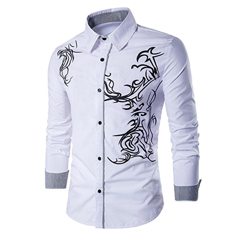 拘束する教育者してはいけないSHINA メンズ ドラゴン パターン カジュアル スリム 長袖 ボタン シャツ 折り襟 形態安定 ファッション