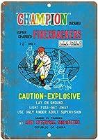 チャンピオン爆竹ラッパー 注意看板メタル金属板レトロブリキ家の装飾プラーク警告サイン安全標識デザイン贈り物