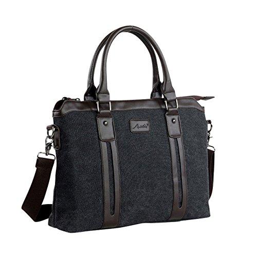 [D-SACK] 2way メンズ ビジネス バッグ 肩掛け トート バック A4 サイズ キャンバス 帆布 ショルダー ブリーフ ケース 書類 通勤 通学 学生 鞄 (ブラック)
