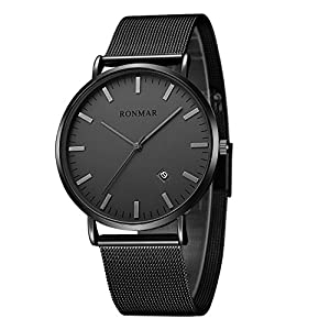 Ronmar 腕時計 超薄型 軽量 亜鉛合金ケース ステンレス製のブレスレット 30M防水 日付表示 男女兼用 ブラック