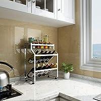 ブラックステンレスキッチンラック床マルチレイヤカウンター収納スペース調味料調味料棚 (Color : Silver, Size : D)