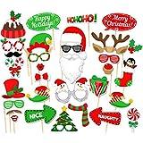 Auony 50個入り DIY クリスマス サンタハット パーティーマスク 写真ブース 小道具 クリスマスパーティー用品