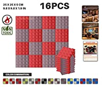 エースパンチ 新しい 16ピースセット赤とブルゴーニュ 250 x 250 x 50 mm ピラミッド 東京防音 ポリウレタン 吸音材 アコースティックフォーム AP1034