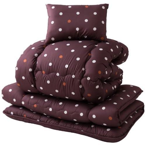 mofua 寝具3点セット(掛・敷・枕) 東レ マッシュロン綿使用 ドット柄 シングル ブラウン 47380106