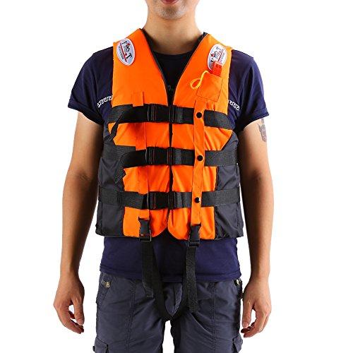 ライフジャケットフローティングベスト救命胴衣呼び子付けホイッスル反射帯付き緊急時に役立つ強い浮力高い負荷力安全安心ベストタイプ3カラー・5サイズに選択可能子供用大人用 (オレンジ,L-大人用)