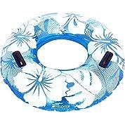 FIELDOOR 便利な持ち手付き ジャンボ 浮き輪 大きい うきわ 直径120cm ブルー (ハイビスカス柄) 大人用 特大