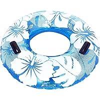 FIELDOOR 便利な持ち手付き ジャンボ 浮き輪 大きい うきわ 直径105cm ブルー (ハイビスカス柄) 大人用