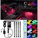 Ezonedeal 48 LEDs Car Interior Light Strip Kit, RGB Footwell Light, Music Sound Activated, Waterproof, Dimmable Underdash Lighting