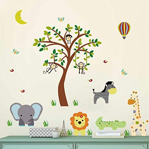 ufengke Jungle Animals Wall Stickers Elephant Giraffe Vinyl Wall Art Decals Wall Decor for Children Bedroom Nursery