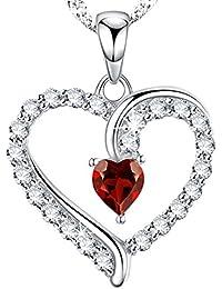 Dorella[ドレラー] 言いたい話 ジュエリー925純銀製  赤い宝石 ハート 一月1月誕生石 ガーネット  プレゼント ギフト 女性 バレンタイン ホワイトデー 誕生日 記念日 パーティー用 BOX付き スワロフスキー エレメンツ