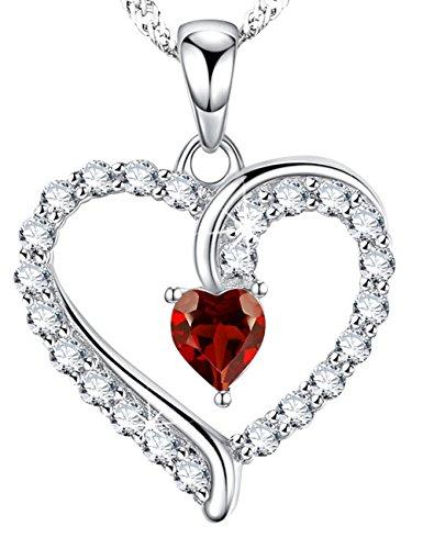 ??Dorella[ドレラー] 言いたい話 ジュエリー925純銀製  赤い宝石 ハート 一月1月誕生石 ガーネット  プレゼント ギフト 女性 バレンタイン ホワイトデー 誕生日 記念日 パーティー用 BOX付き スワロフスキー エレメンツ