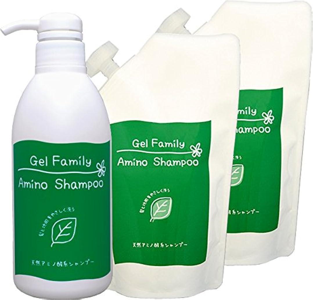 最少インド繊維ゲルファミリー アミノシャンプー 500mlボトル+詰替用×2個セット