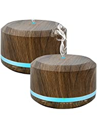 Doukedge エッセンシャルオイル 用 450ミリリットルディフューザーにより自宅寝室オフィス用 ライトを変更する8色 2パック木目アロマクールミスト加湿器ディフューザー