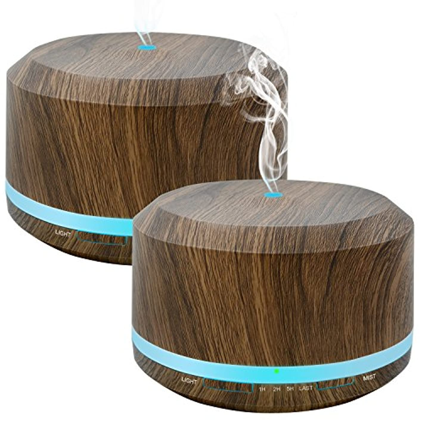 くマイコンオセアニアDoukedge エッセンシャルオイル 用 450ミリリットルディフューザーにより自宅寝室オフィス用 ライトを変更する8色 2パック木目アロマクールミスト加湿器ディフューザー