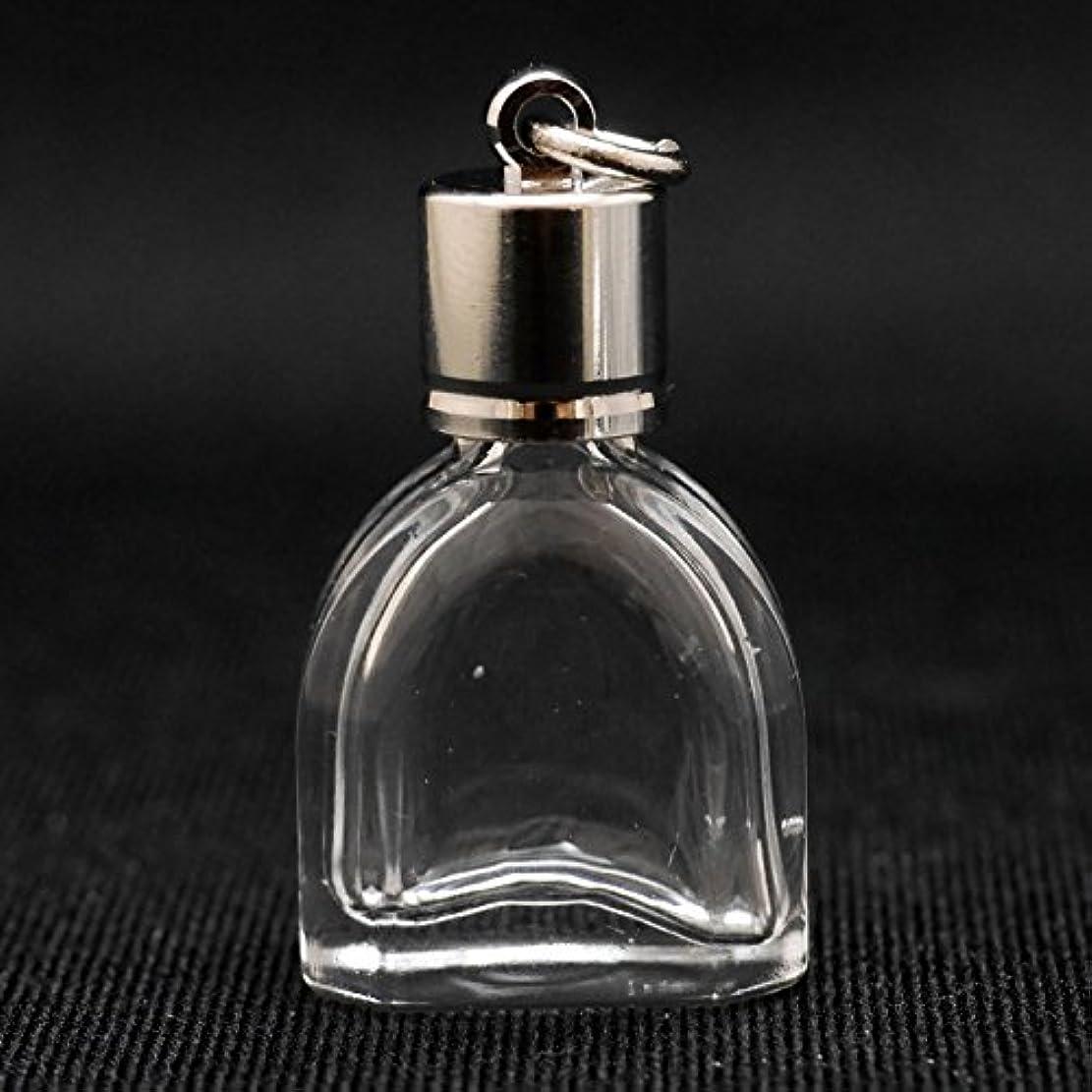 苗インフルエンザ報酬のミニ香水瓶 アロマペンダントトップ チャペル型(透明 容量1.3ml)×穴あきキャップ シルバー