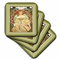 (set-of-8-Soft) - 3dRose cst_98596_2 Muchas Art Nouveau Painting of Pretty Lady with Flowers Around Her.Jp-Soft Coasters, Set of 8