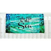 KESS InHouse Ebi Emporium Take Me to the Sea Aqua Glitter Fleece Baby Blanket 40 x 30 [並行輸入品]
