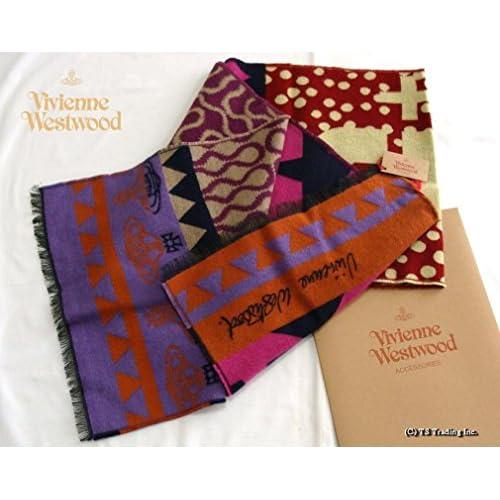 ヴィヴィアン ウエストウッド Vivienne Westwood +5 ORB&スクイグル柄 ラージ スカーフ シルクウール マフラー Made in Italy (PURPLE/NV)[並行輸入品]