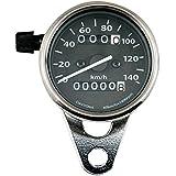 デイトナ(DAYTONA) 機械式LEDミニスピードメーター 140km/h TRIP付き ブラックパネル ブラックボディー ステンレスリム 63571