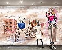 Minyose カスタム壁紙水彩手描きのファッション美容バイク女性ショップ背景壁リビングルーム壁画3d壁紙-200cmx140cm