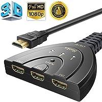 HDMI切替器 を自動で切り替え フルHD対応! HDMI切り替え セレクター 分配器3入力1出力HDDレコーダー パソコン PS3 Xbox 3D/1080Pなどの対応 簡単切り替え スプリッター 切り替え器 ディスプレイ 3ポート