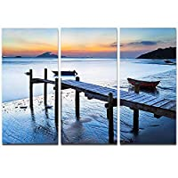 Old Wooden Pier in Bright Sea Seascape on Canvas Art Wall Photgraphy Artwork Print [並行輸入品]