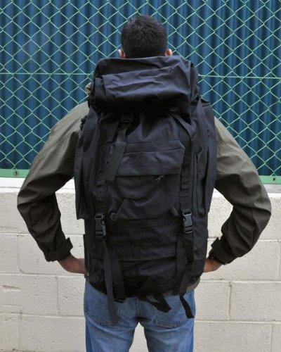 強靭ミリタリー タクティカル 防水 レインカバー 付  バックパック 35L 軍用 US 次世代アサルト ハイスペック ミリタリー リュック 本物の耐久性、機能性、実用性 旅行/アウトドア/登山/キャンプ に 災害避難時にも安心と信頼のミリタリーギア (ブラック) TCbkpkBK