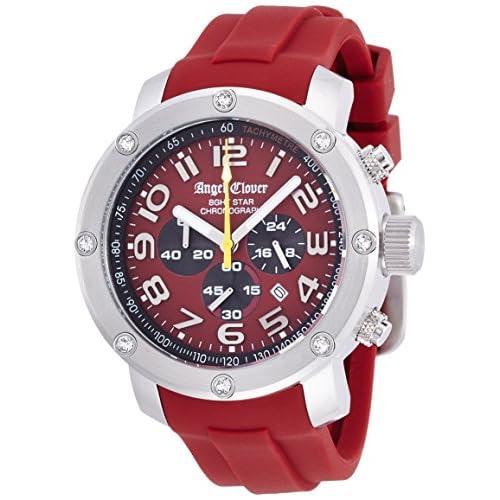 [エンジェルクローバー]Angel Clover 腕時計 エイトスター レッド文字盤 スワロフスキー 100m防水 クロノグラフ NES46SRE-RE メンズ