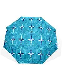 ユキオ(UKIO) 折りたたみ傘 レディース 晴雨兼用 高密度 遮光 手動 遮熱 飛び跳ね防止 梅雨対策 雨傘 日傘 軽量 防風 頑丈 ブルー 花模様 収納ケース付