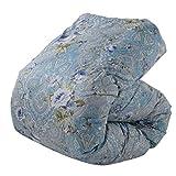 東京西川 羽毛布団 シングル ウクライナ産シルバーグースダウン90% 日本製 抗菌防臭 花柄 ブルー KA06005061A2