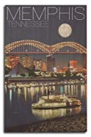 (10 x 15 Wood Sign) - Memphis, Tennesseee - Skyline at Night (10x15 Wood Wall Sign, Wall Decor Ready to Hang)