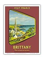 ブルターニュ - フランスを訪問 - フランス国有鉄道 - ビンテージな鉄道旅行のポスター によって作成された ジャン・ガルシア c.1953 - アートポスター - 23cm x 31cm