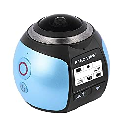 【二個電池付き】SOYA 4k ビデオカメラ 360度カメラ 防水 アクションカメラ 自転車と空撮対応 3D・VR仮想メガネサポート アプリで撮影モード八種類·遠隔操作·日本語対応 V1 (ブルー)