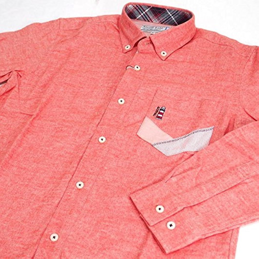 牧草地パフ破壊的20849 秋冬 長袖 無地 ネルシャツ ボタンダウン 胸ポケット付き ピンク(桃色) サイズ L ANGELO アンジェロ 紳士服 メンズ 男性用