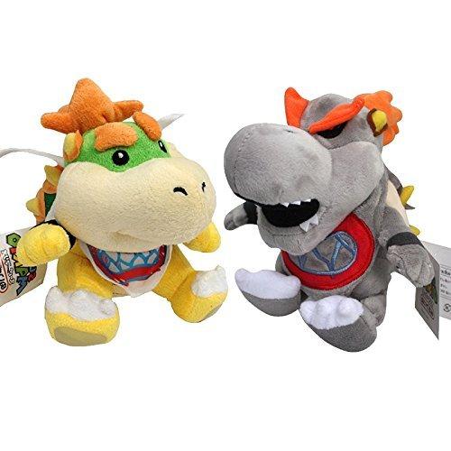 Super Mario Plush 7.2 Inch / 18cm Grey Bowser & Bowser JR 2pcs Koopa Doll Stuffed Animals Figure Soft Anime Collection Toy [Flor