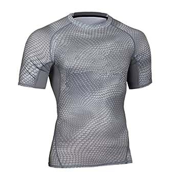 メンズ 吸汗速乾 コンプレッションウェア 機能性 着圧 スポーツインナー 半袖 tシャツ姿勢矯正 猫背解消 加圧シャツ (01. グレーM)